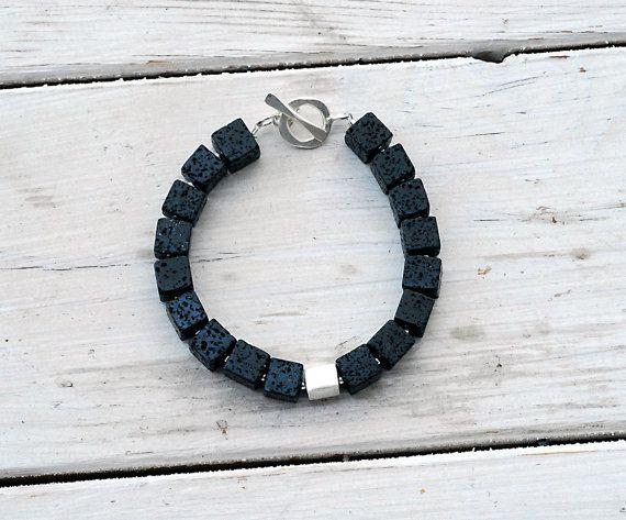 Black Lava Rock Bracelet  Santorini Bracelet  by SunSanJewelry