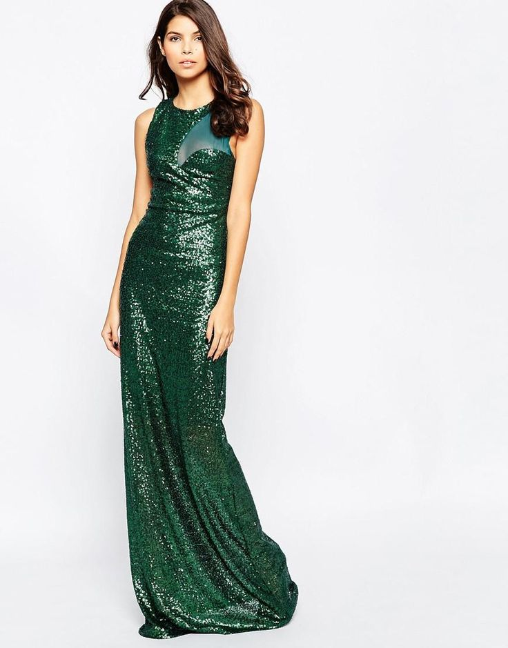 Smaragdově zelená | City Goddess Sequin Maxi Dress with Curved Mesh Insert at ASOS