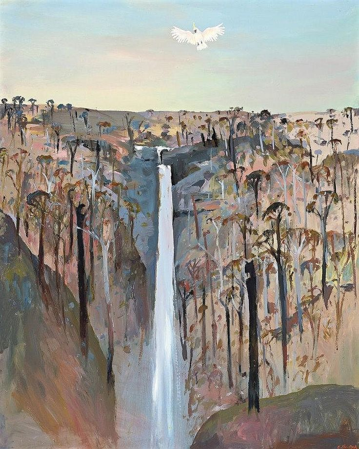 ARTHUR BOYD 1920 - 1999, WATERFALL ON THE BANKS OF THE SHOALHAVEN RIVER, oil on composition board
