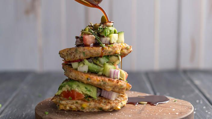 Corn fritters with avocado salsa recipe : SBS Food