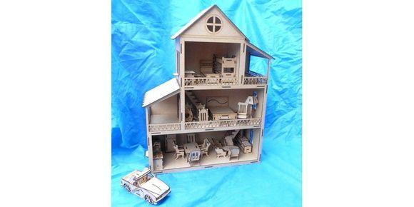 Casa Casinha de Boneca Mdf C/ Móveis