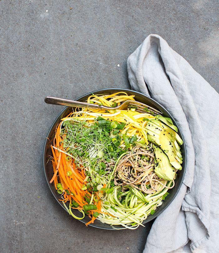 Soba Noodles, Raw Veggies, Noodles Salad, Sunflowers Sauces, Cold Soba ...