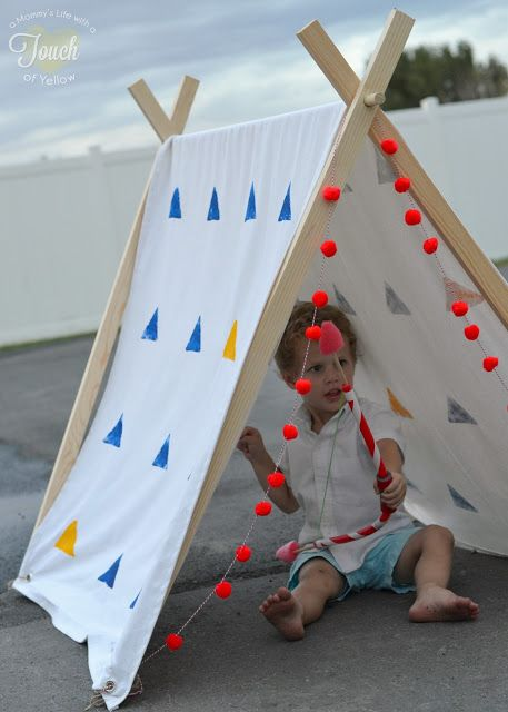 Diy a frame play tent tutorial great idea for a tent in for Homemade wall tent frame