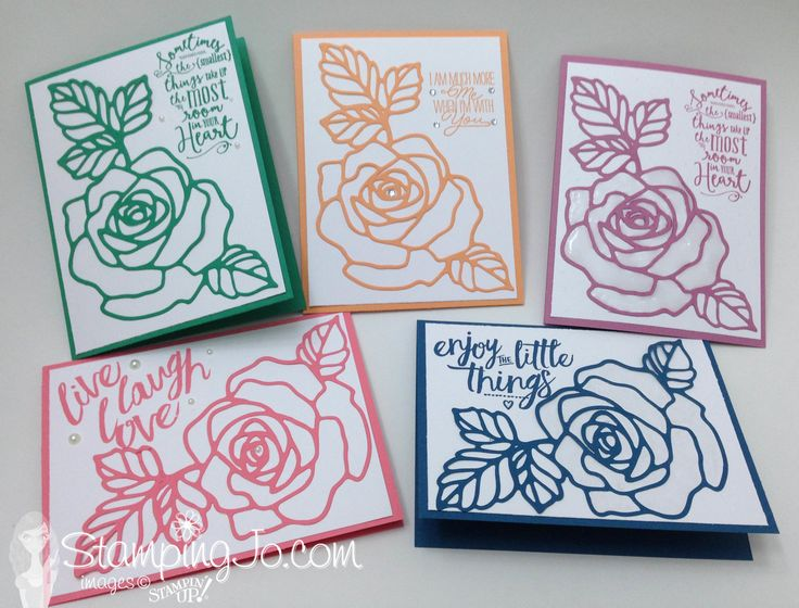 Rose Garden Thinlits, Layering Love stamp set, Stampin Up, quick and easy hand stamped cards