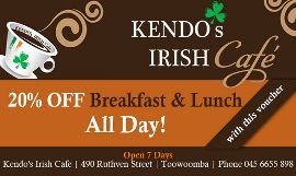 20% OFF Breakfast ALL DAY EVERY DAY at Kendos Irish Cafe