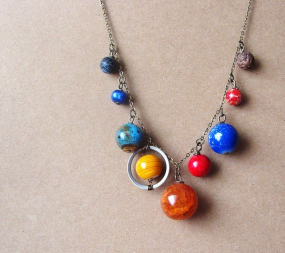 Planets Necklace Solar System the Nine Planets on by aptoArt, $32.00