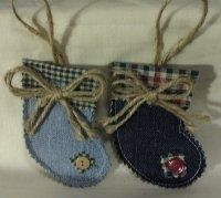 blue jean christmas ornaments | Denim Christmas stocking ornaments | Blue Jeans Upcycled - Christmas
