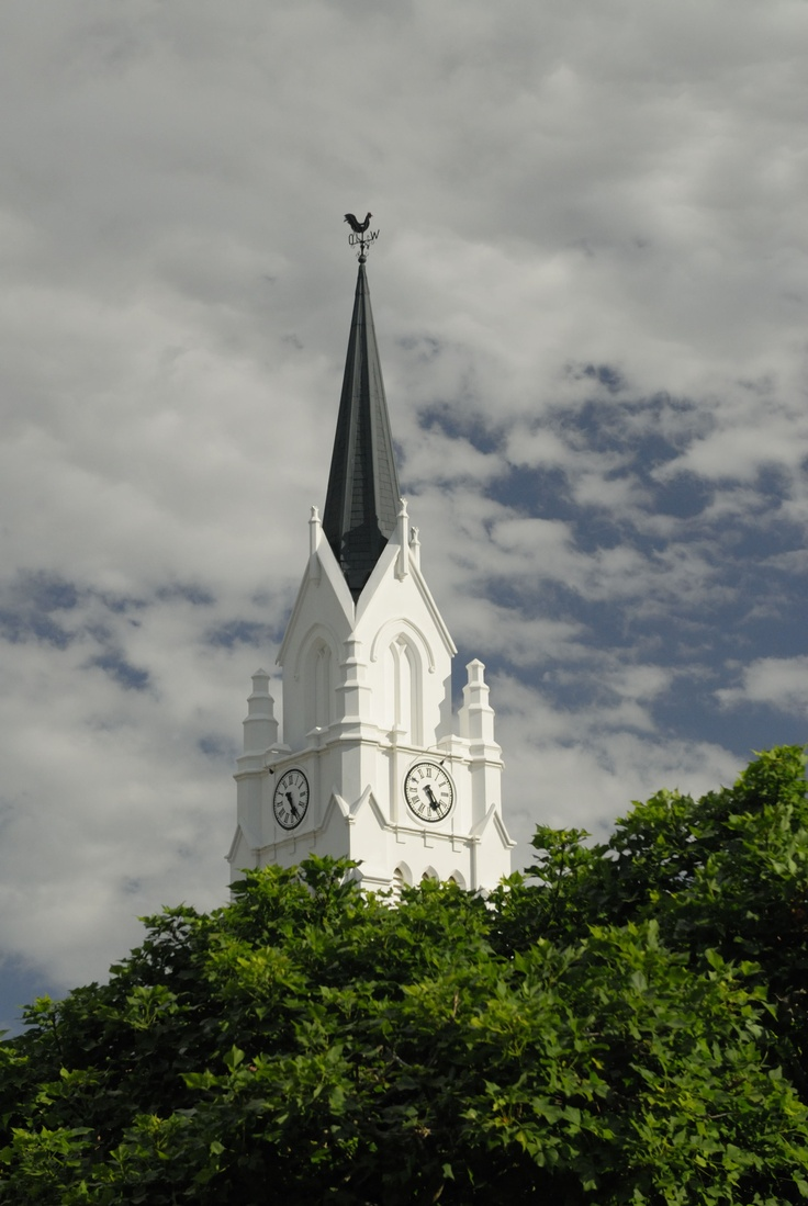 The spire of the beautiful Dutch Reformed church at Bredasdorp