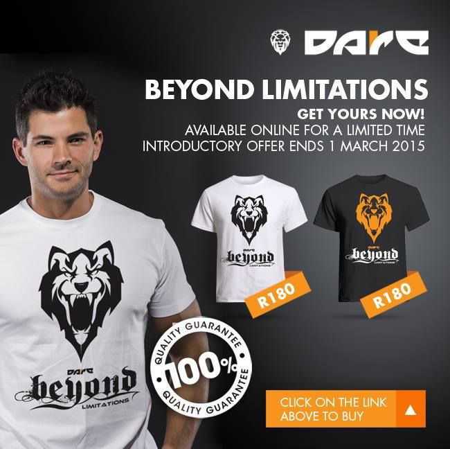Beyond Limitations Dare Fitness T-shirts, Vests and Hoodies available from www.daredezigns.com
