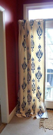 Budget friendly Curtains using paint drop cloth and stencils