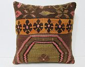 20x20 kilim pillow 20x20 gold decorative pillow yellow throw pillow brown pillow cover oversized pillow cover oversized cushion rustic 24066