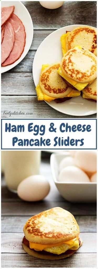 Ham egg,  cheese pancake sliders combine your favorite breakfast fares including savory ham, fluffy eggs, melted cheese and sweet pancakes. via Berlys Kitchen | Food Blogger | Recipe and Content Development