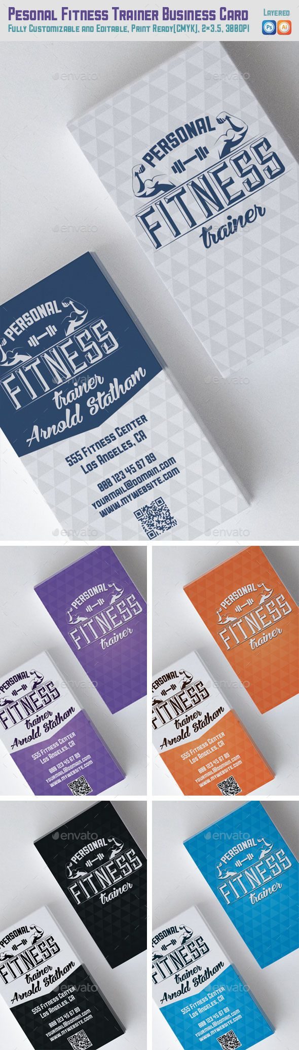 Personal Fitness Trainer Business Card - Industry Specific Business Cards