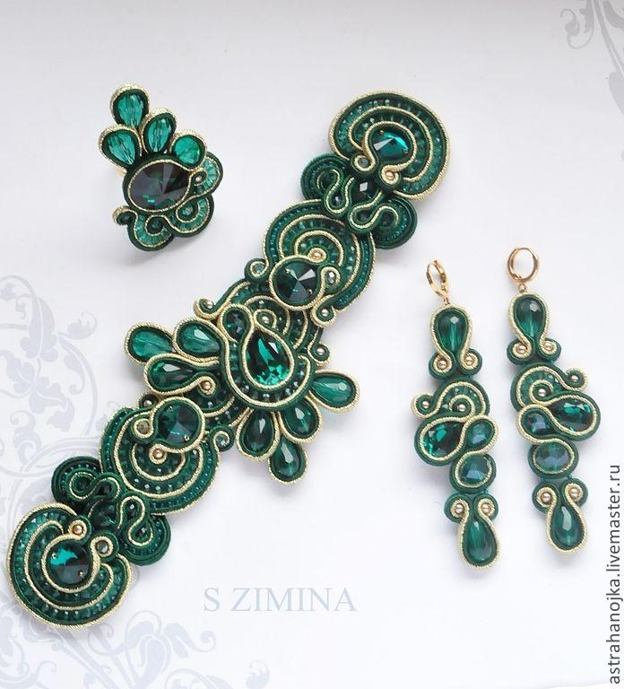 Купить Комплект Изумрудный - зелёный, сутажные украшения, сутажный комплект, зеленый сутажный комплект