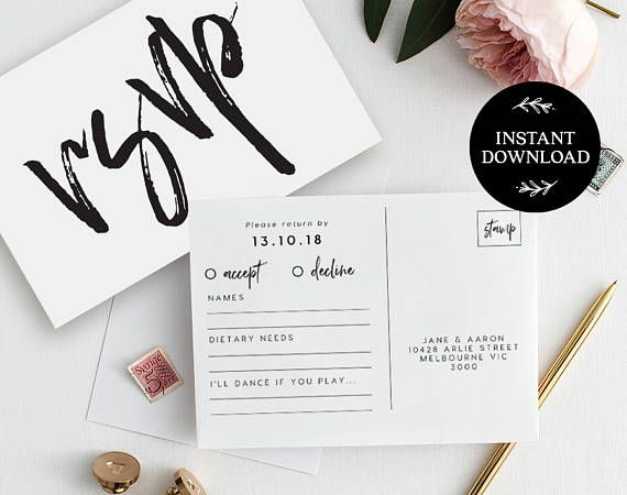 RSVP Postcard Template INSTANT DOWNLOAD, Editable pdf, rsvp Cards, rsvp Postcard, rsvp template, wedding rsvp cards - Harper