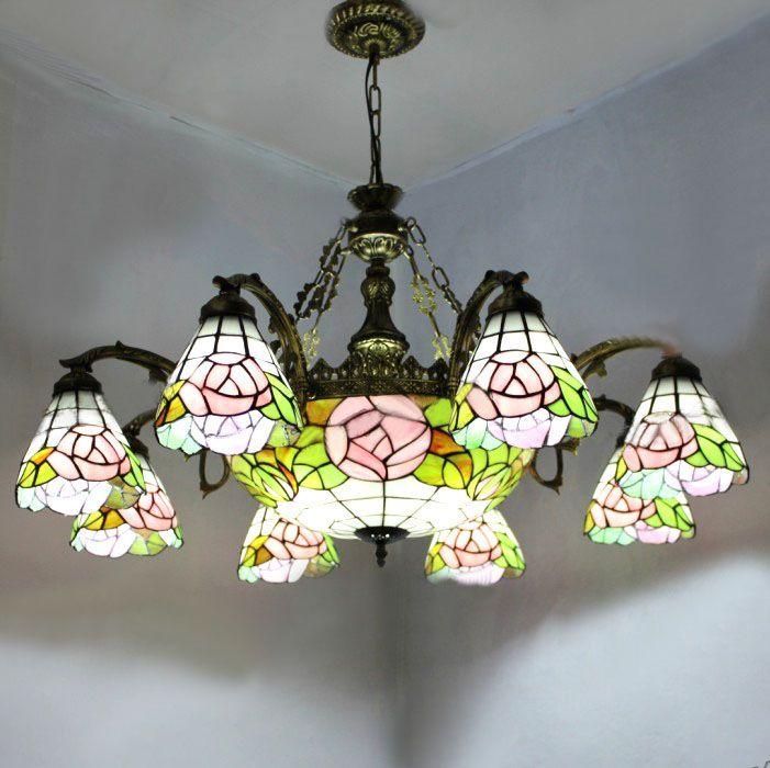 Rose Shape Tiffany Chandelier European Vintage Simple Glass Suspension Light Dining Room Hanging Lamp Pendientes Lustre #Affiliate