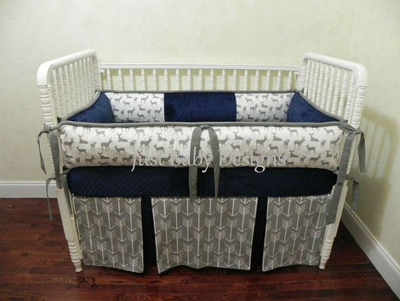 Custom Baby Bedding Set Kees Navy Boy Baby Bedding Deer