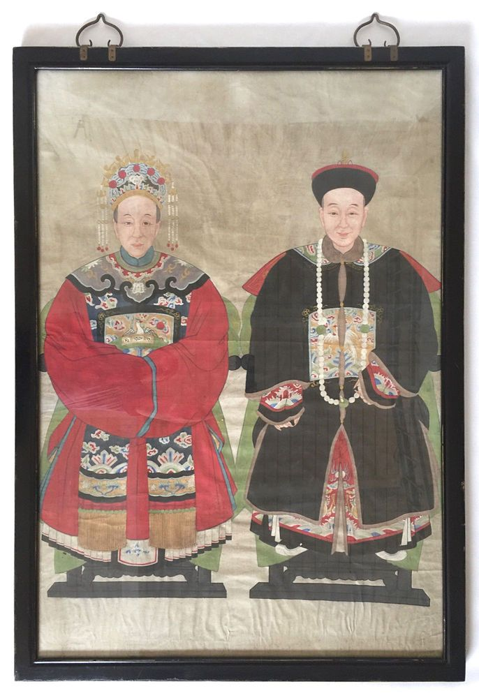 """19th C Antique Chinese Qing Dynasty Ancestor Portrait - Large 55"""" x 39"""""""