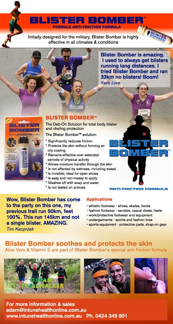 "Blister Bomber Soothes & Protects ""Keeping you on track & ahead of the pack"" www.facebook.com/blisterbomber"