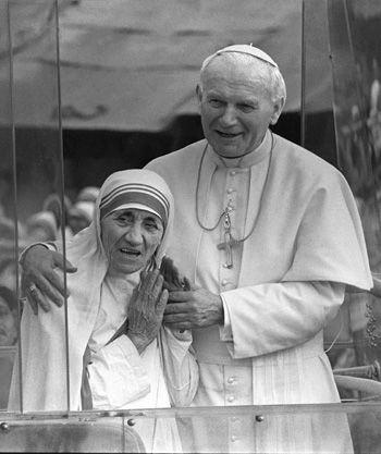João Paulo II - papa e madre teresa de calcutá | Dia da Grande Beata Madre Tereza de Calcutá