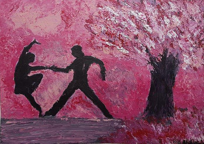 Dancing Couple Painting Colorful Artwork Dancing Painting Modern Art Acrylics on Paper Figurative Art in Imaginary landscape by DeniseArtStudio on Etsy