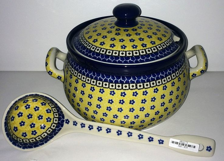 CA190-859 Sunburst - Tureen & Ladle (3.5 qt.) Hand painted Polish Pottery is safe for use in the oven, microwave and dishwasher