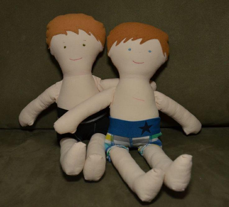 Jefke en Julleske (mijn eerste Tante Hilde poppen voor mijn twee grootste schatten,mét passende boxershort)