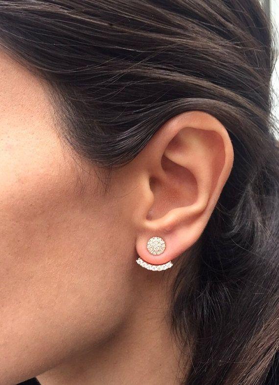 White CZ stone Ear jacket Earrings / Ear jacket by HappyWayJewelry