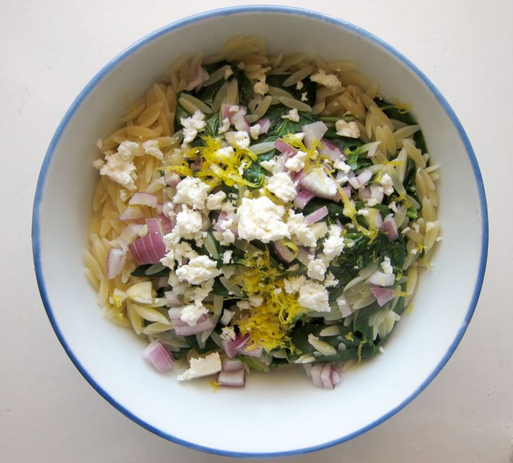 via Everybody Likes Sandwiches: lemon orzo with spinach, feta & almonds