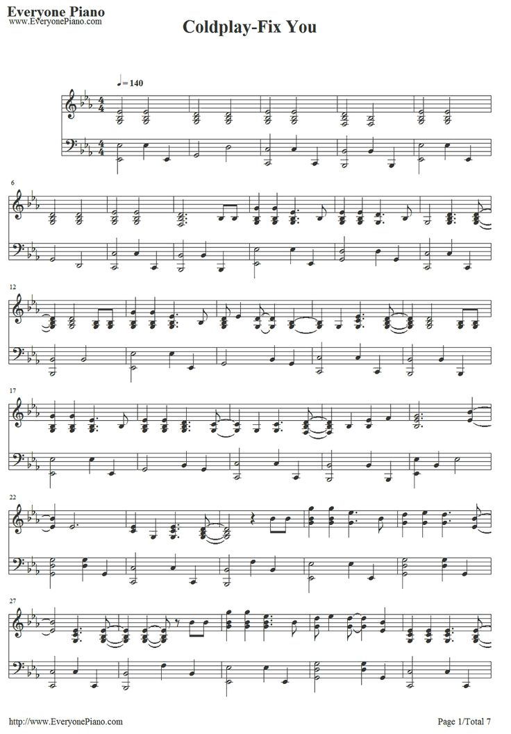 Free Fix You-Coldplay Sheet Music Preview 1