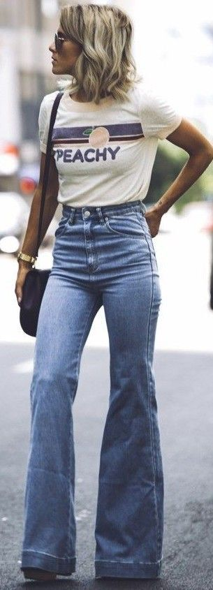 #september #trending #outfits | Graphic Tee + Flares
