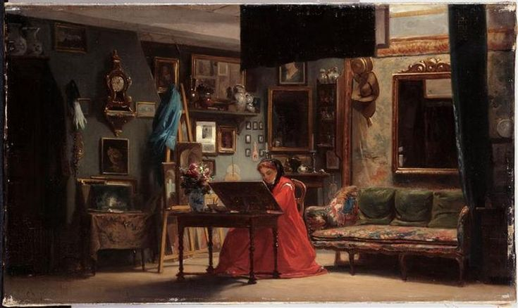 Intérieur du salon de S.A.I. Mme la saloniere+painter princesse #Mathilde Bonaparte(*1820+1904) at 24.rue Corcelles(from 1849-57)her librarian was Theophille Gautier(from 1868).She was devoted to the pastel and watercolor painting and entertained from the 1850s in her Paris mansion an artistic and literary salon.Son of her 1.cousin Charlotte Bonaparte(1795+1865) Placido 4.Prince #Gabrielli di Gubbio was a frequent visitor to the literary salon 24. rue de Courcelles, and after the fall of…