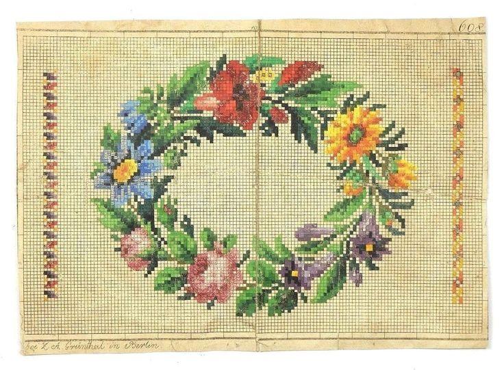 Античный Берлин Woolwork два оригинальных ручной росписью графика 19 века | ибее
