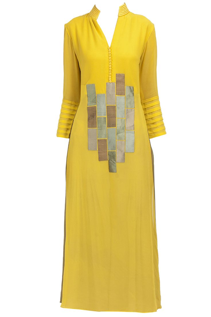 Yellow raw silk patchwork tunic available only at Pernia's Pop-Up Shop.