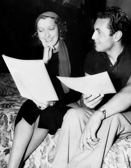 Jeanette MacDonald and Allan Jones on the set of The Firefly, 1937, directed by Robert Z. Leonard.