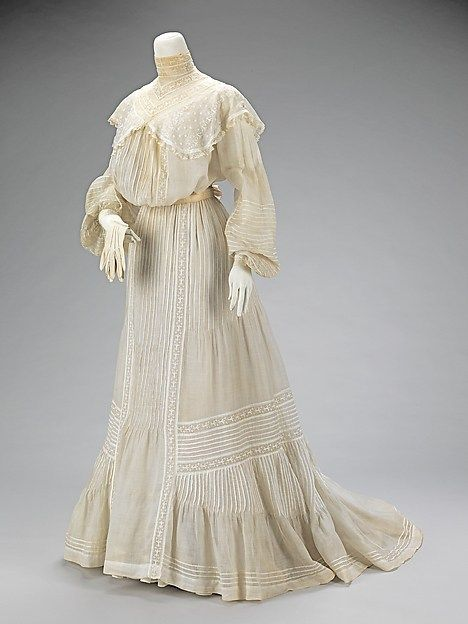 """Large ensembles of bridal attire rarely survive intact, a fact that makes this group of eighteen pieces unusual and special. This set shows what a bride of 1903 considered to be essential garments for her wedding day and night. The set was made and worn by donor's mother, Iza Bernice Shelton. Miss Shelton married Dr. Abel Wilson Atwood on July 7, 1903 at the home of her parents in Brooklyn."" – The Metropolitan Museum of Art"