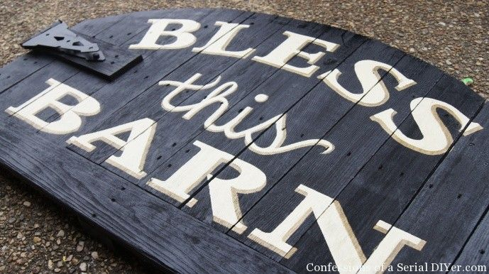 Sign made from an old gate! (This was made specifically for a horse barn but could be great with another saying for indoors.)