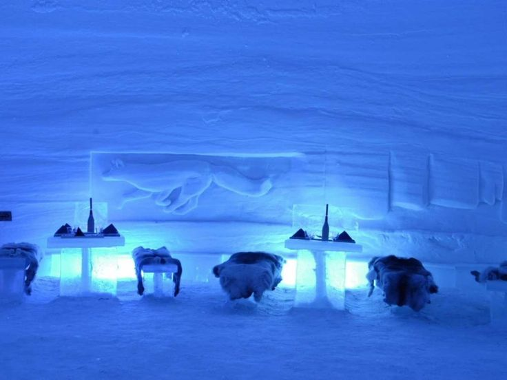 Home to both a snow hotel and a snow restaurant, Lainio Snow Village in Finland is built each year using 20 million kilos of snow and 350,000 kilos of ice. Serving cuisine that's native to the area, the snow restaurant is kept anywhere from minus 2 to minus 5 degrees Celsius, so diners should bundle up.