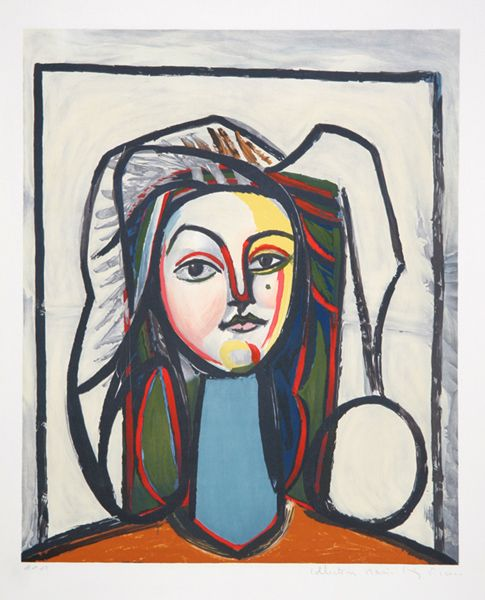 Title: Portrait au Cou Bleu Year of Original Artwork: 1946 Year of Publication: 1979-1982 Medium: Lithograph on Arches Paper Edition: 500, 34 AP's Paper Size: 29 x 22 inches Ref #: 3-A