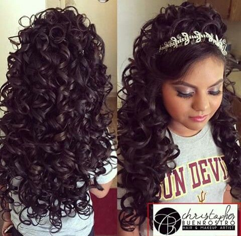 hair styles to do with curly hair quince hairstyles my quience ideas quince 3044 | db6899f362663c6c15fd4e1847840ce9 tiara hairstyles quince hairstyles