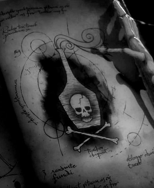 From Tim Burton Corpse Bride. Would be cool to have this bottle tattooed