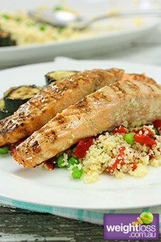 Healthy Fish Recipes: Salmon with Couscous. #HealthyRecipes #DietRecipes #WeightlossRecipes weightloss.com.au