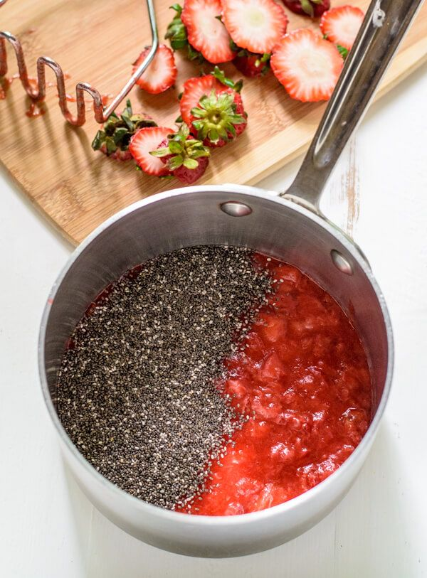 Homemade Strawberry Chia Jam. 3 ingredients and ready in 20 minutes!