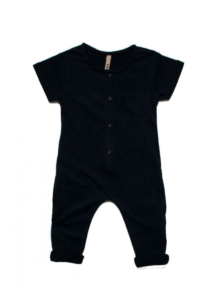 Organic Playsuit / Nearly Black - Gray Label - Designers : Fawn Shoppe - Global Boutique For Unique Children's Designs