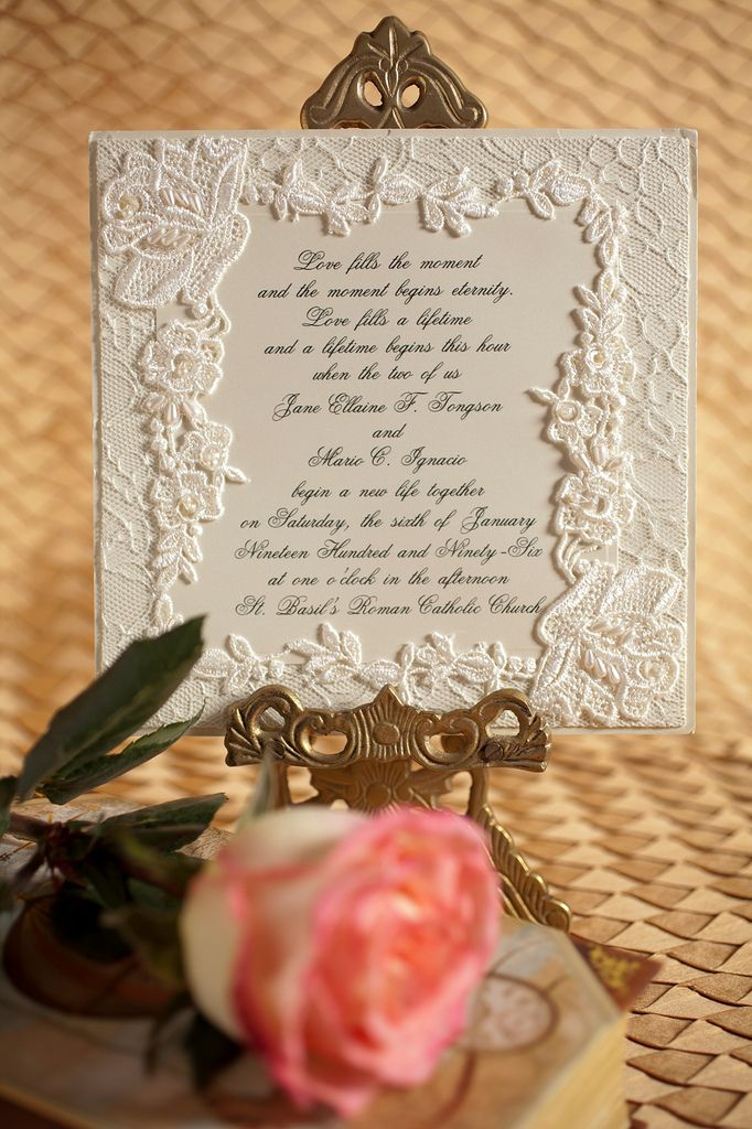 DIY Lace wedding invitation with pearls 222