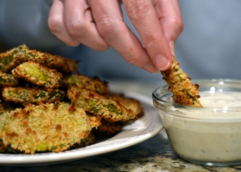 Baked Pickles.  Not fried. 1 jar dill pickle slices (the thicker and crunchier, the better) 2 eggs ⅓ cup flour 1 Tbsp. Worcestershire sauce 1 tsp. Tabasco sauce 1 tsp. garlic powder 1 tsp. Cajun seasoning (I use Tony Chachere's) 1 tsp. pepper 1½ cups Panko bread crumbs
