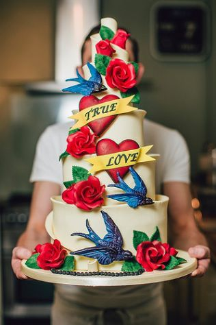 swallow tattoo themed wedding cake   InkedWeddings.com