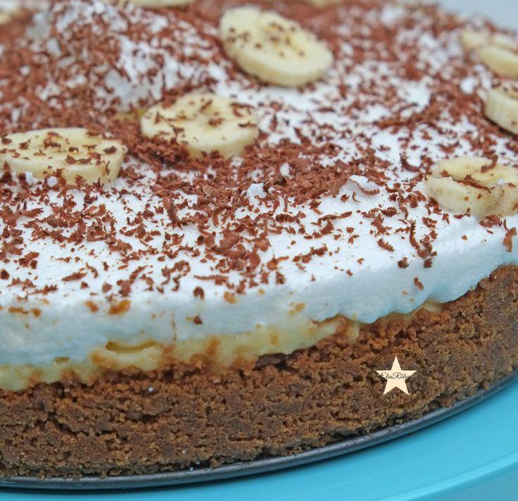 taart, Torta, bananen, bananentaart, romige, roomsaus, bastogne, chocolade,