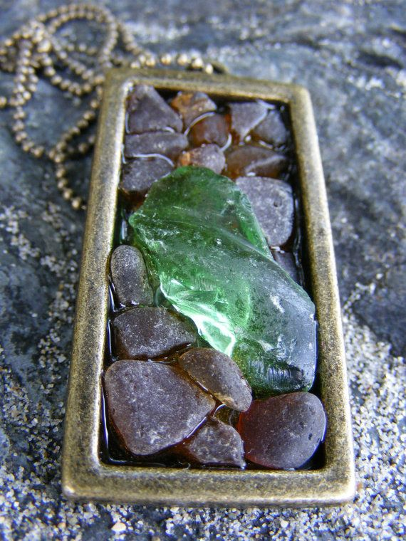 Authentic Green & Brown Sea Glass Mosaic Necklace ($10 off until 08/20 with coupon code GRANDOPENING10)  #seaglass #seaglassjewelry #beachglass #beachglassjewelry #shophandmade #seaglassgrotto