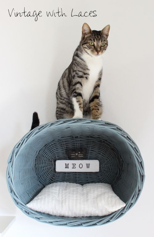 Basket repurposed into cat wall lounger | Vintage with Laces
